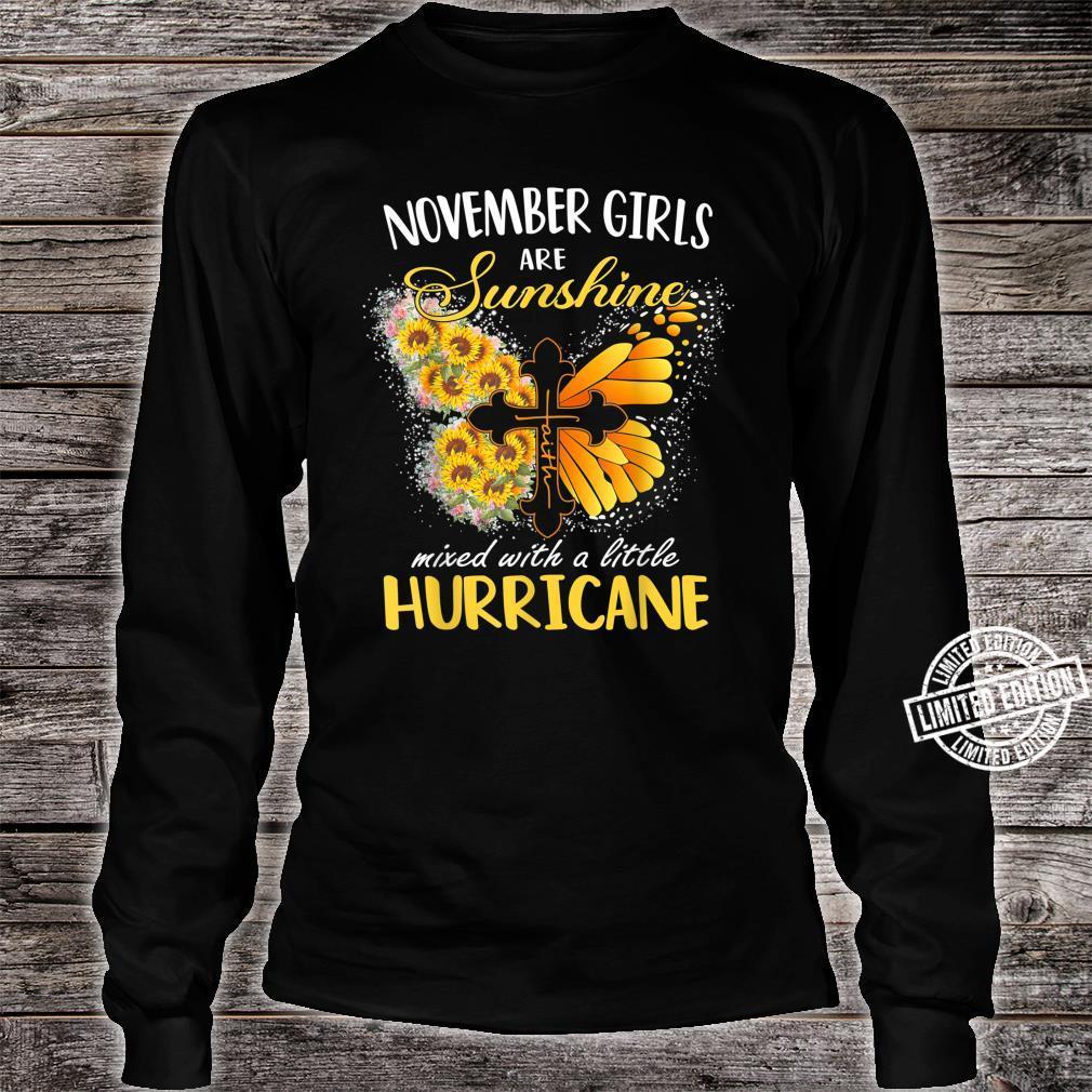 November Girls Are Sunshine Mixed Little Hurricane Sunflower Shirt long sleeved