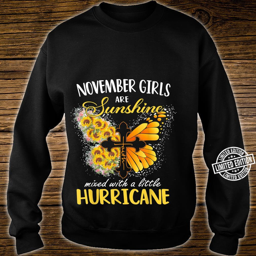 November Girls Are Sunshine Mixed Little Hurricane Sunflower Shirt sweater