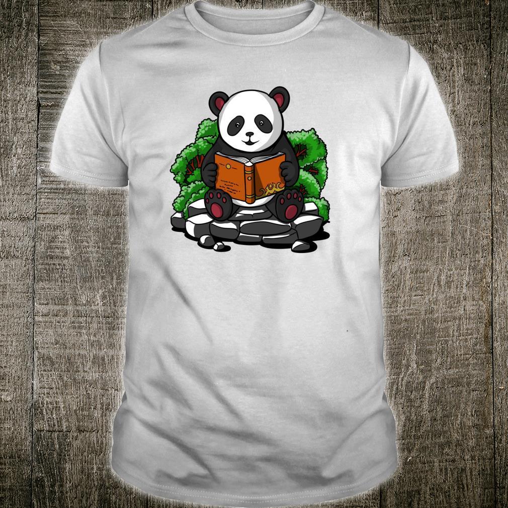 Pandabär Buch Lesen Student Kinder Jungen Mädchen Shirt