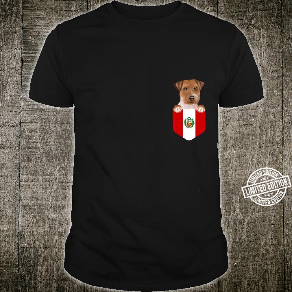 Peru Flag Russell Terrier Dog In Pocket Shirt