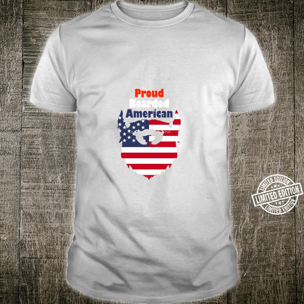 Proud Bearded American With Facial Hair Patriotic Shirt
