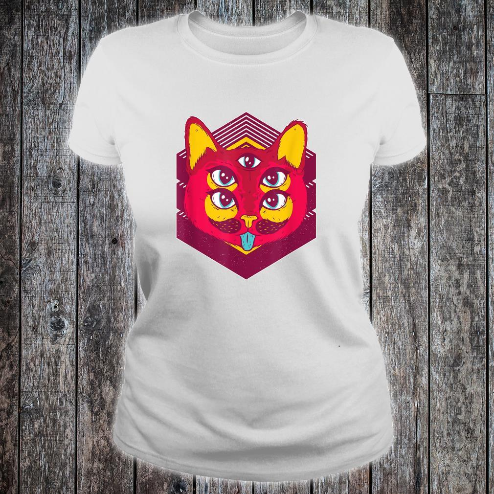 Psychedelic Trip Acid Trippy Cats Shirt ladies tee