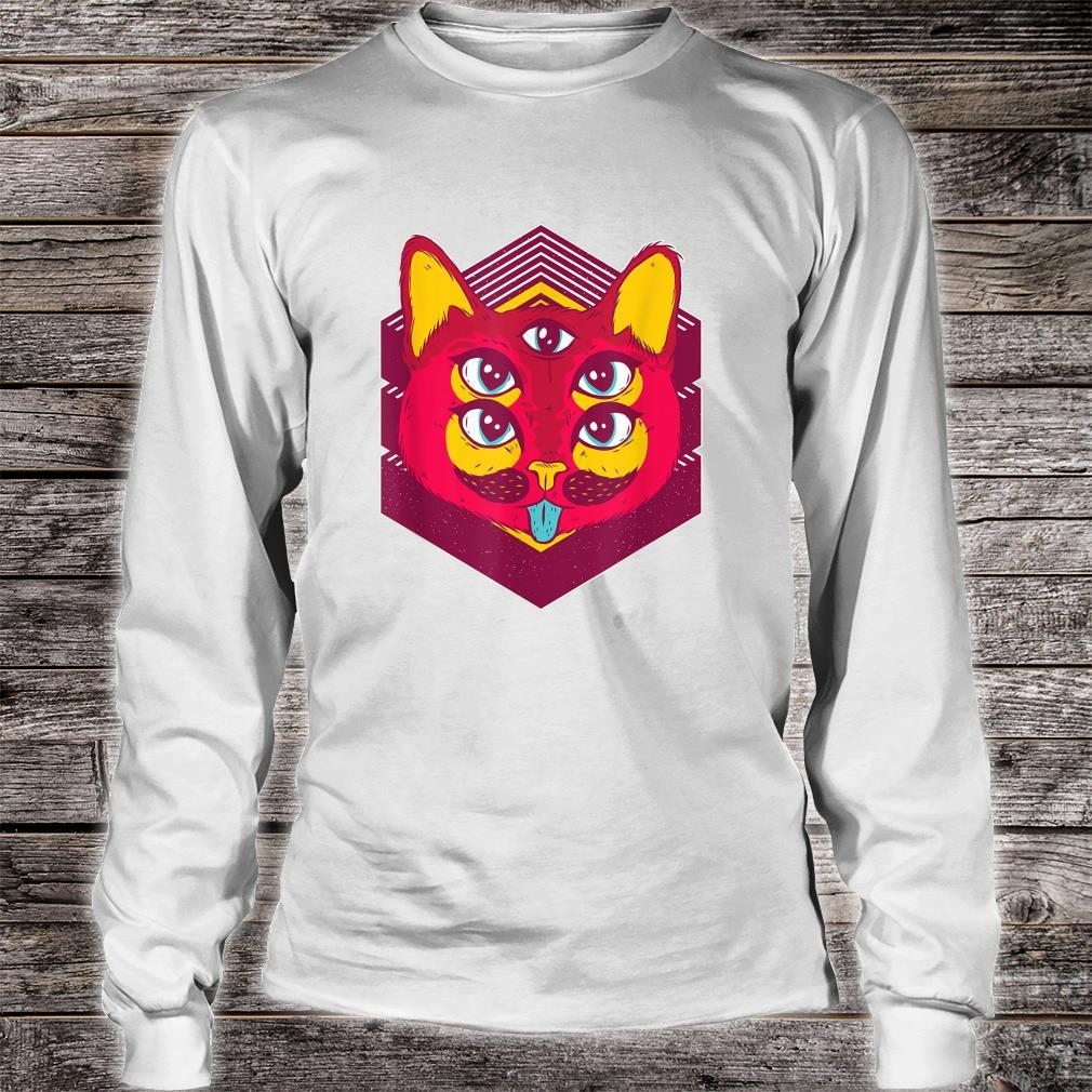 Psychedelic Trip Acid Trippy Cats Shirt long sleeved