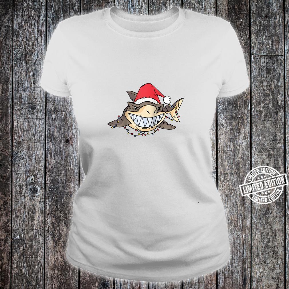 Shark With Christmas Hat and Lights Shirt ladies tee