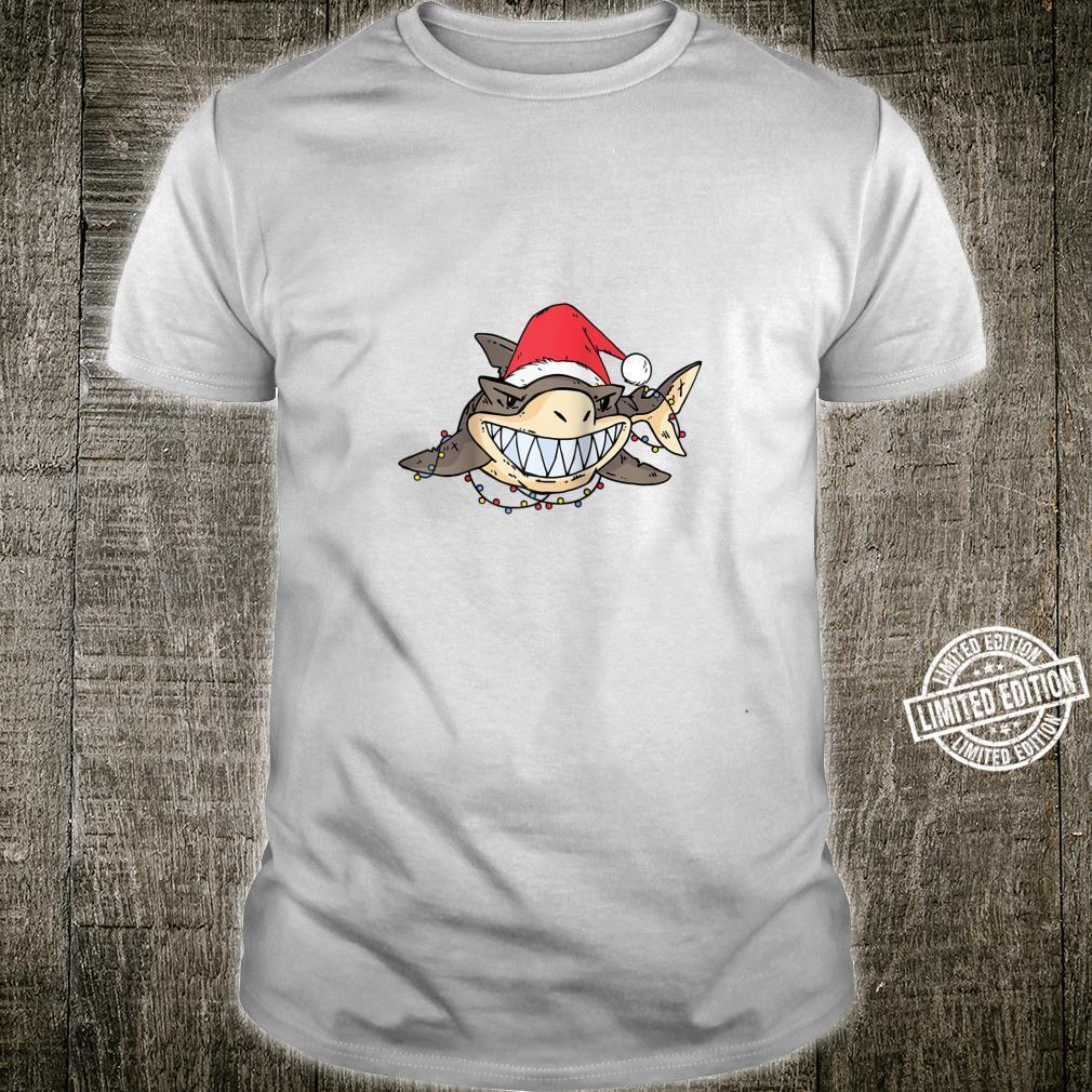 Shark With Christmas Hat and Lights Shirt