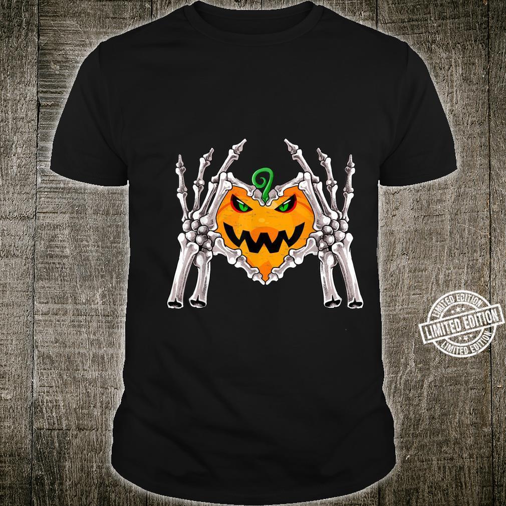 Skeleton Hand Heart Sign Finger Bone Costume Halloween Shirt