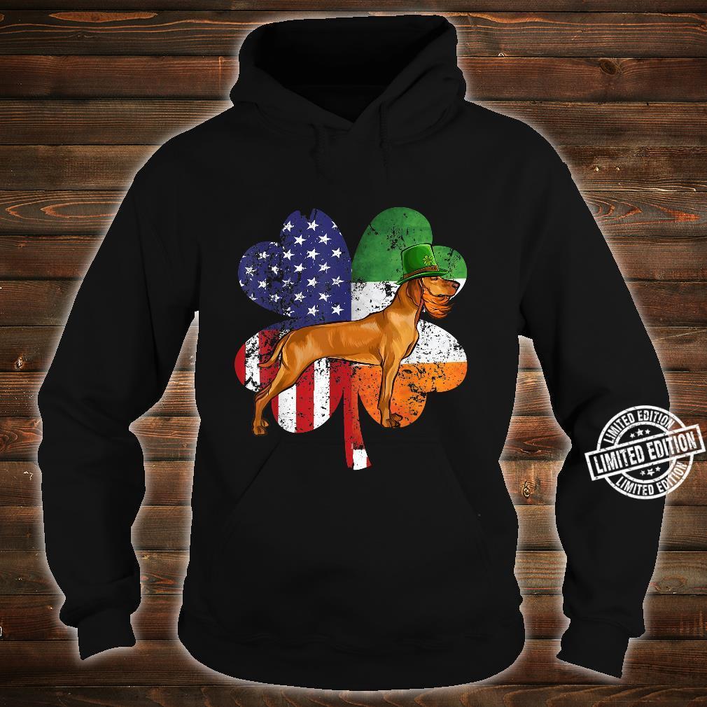 St Patricks Day Irish American Flag Vizsla Dog Shirt hoodie