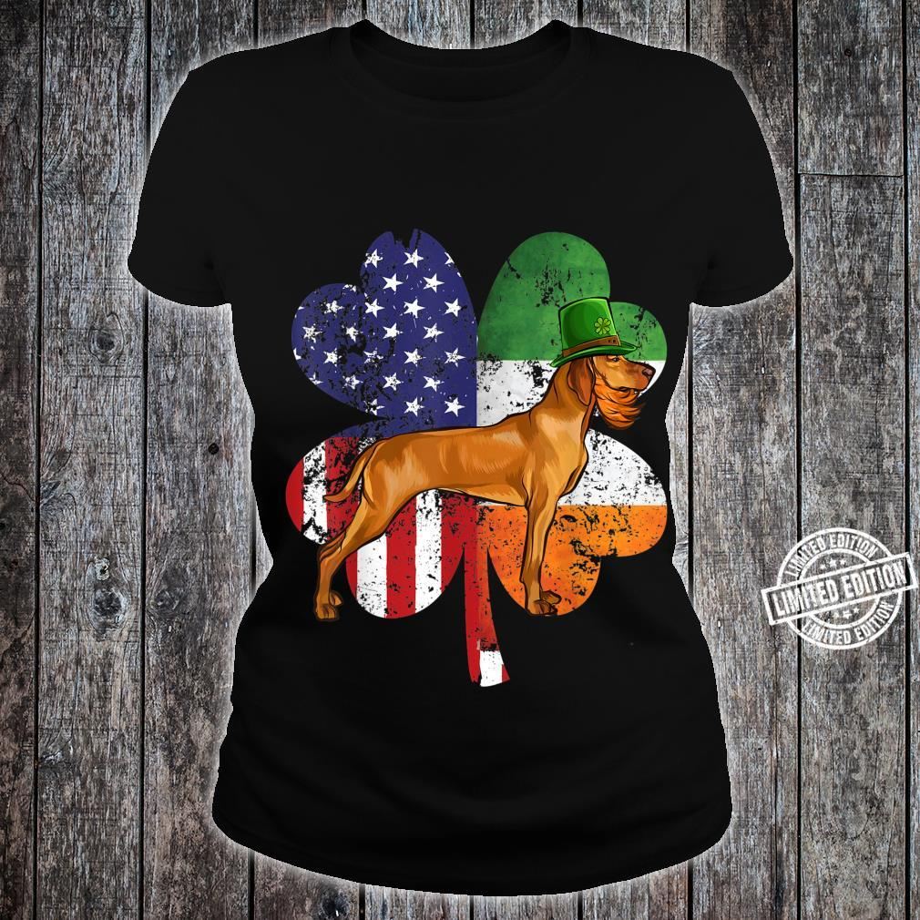 St Patricks Day Irish American Flag Vizsla Dog Shirt ladies tee