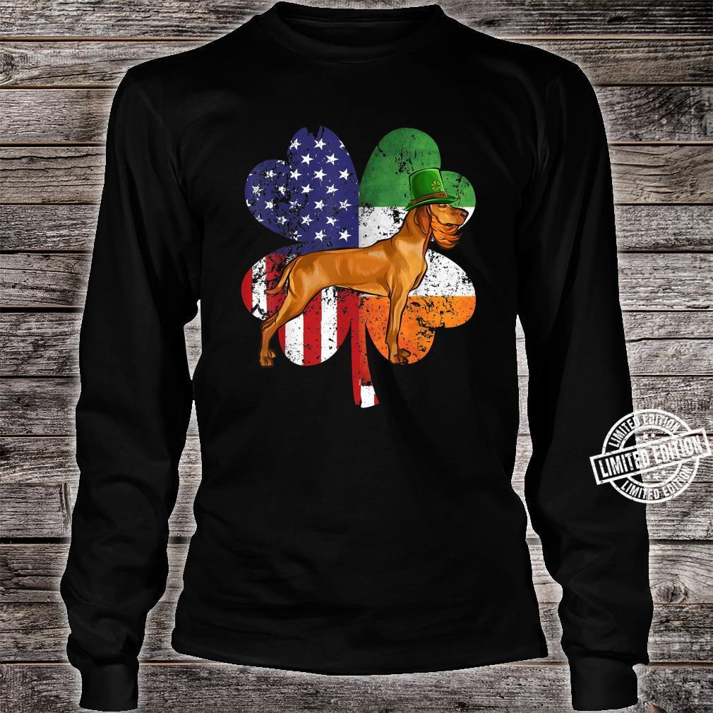 St Patricks Day Irish American Flag Vizsla Dog Shirt long sleeved