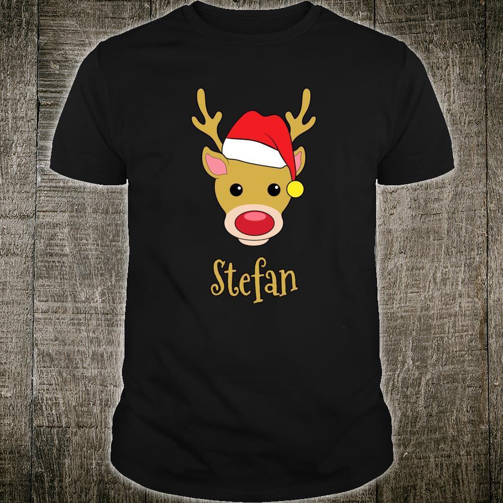 Stefan Christmas RedNosed Reindeer Personalized Name Shirt