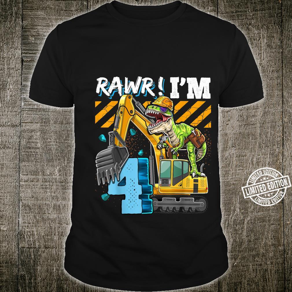 T Rex Dinosaurier Bauhut Bagger 4. Geburtstag Jungen Shirt