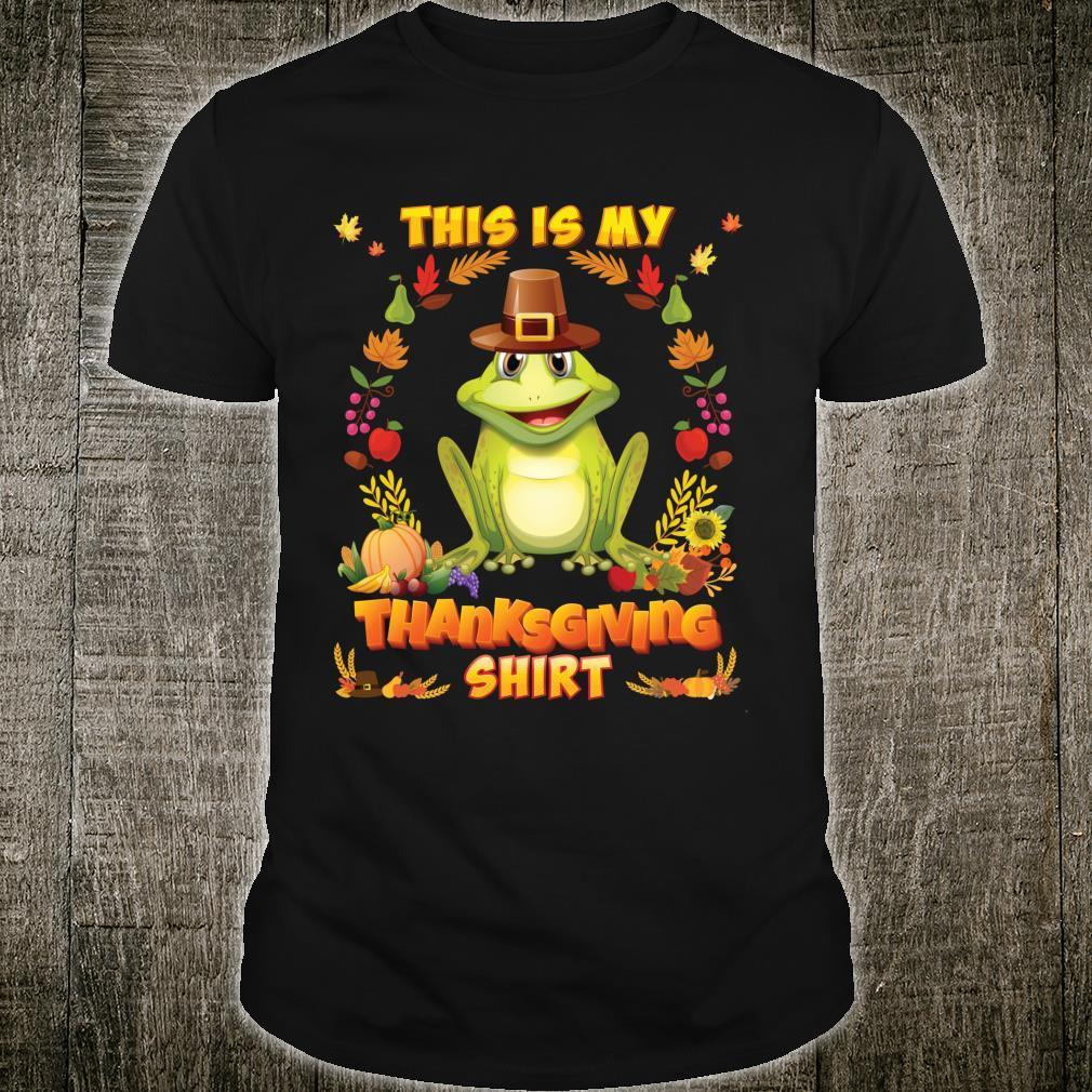 This Is My Thanksgiving Shirt Frog Blessed Pilgrim Pumpkin Shirt