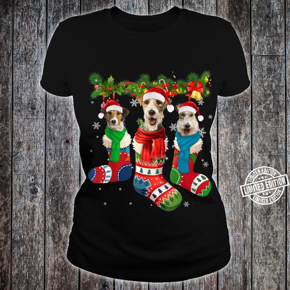 Three Fox Terriers In Christmas Socks Shirt ladies tee