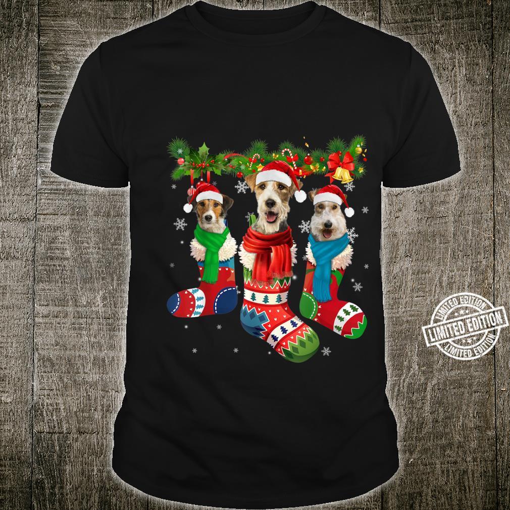 Three Fox Terriers In Christmas Socks Shirt