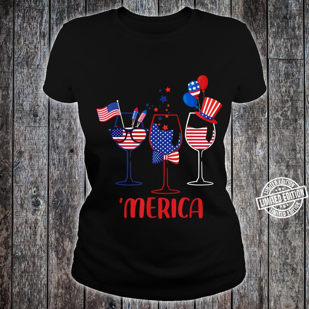 Three Glass Of Wine 4th Of July Wine American Flag Shirt ladies tee