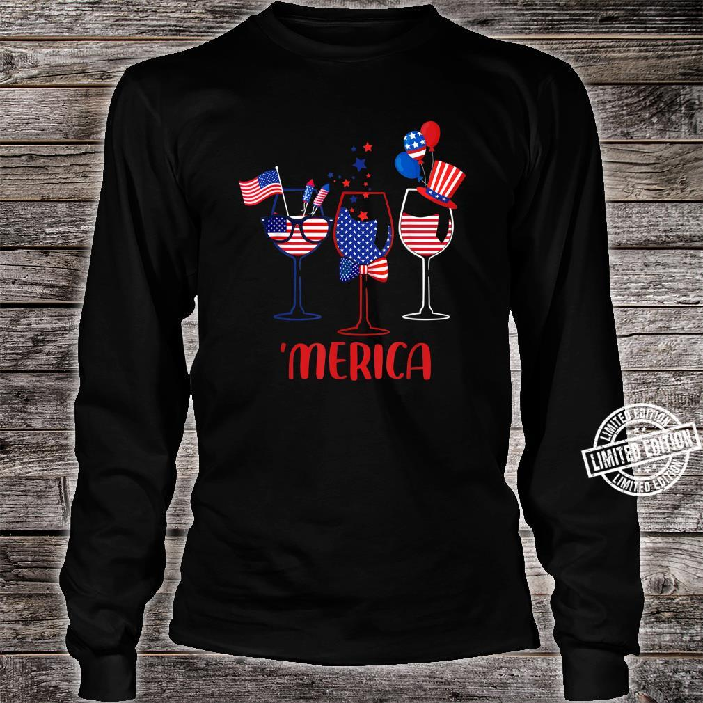 Three Glass Of Wine 4th Of July Wine American Flag Shirt long sleeved