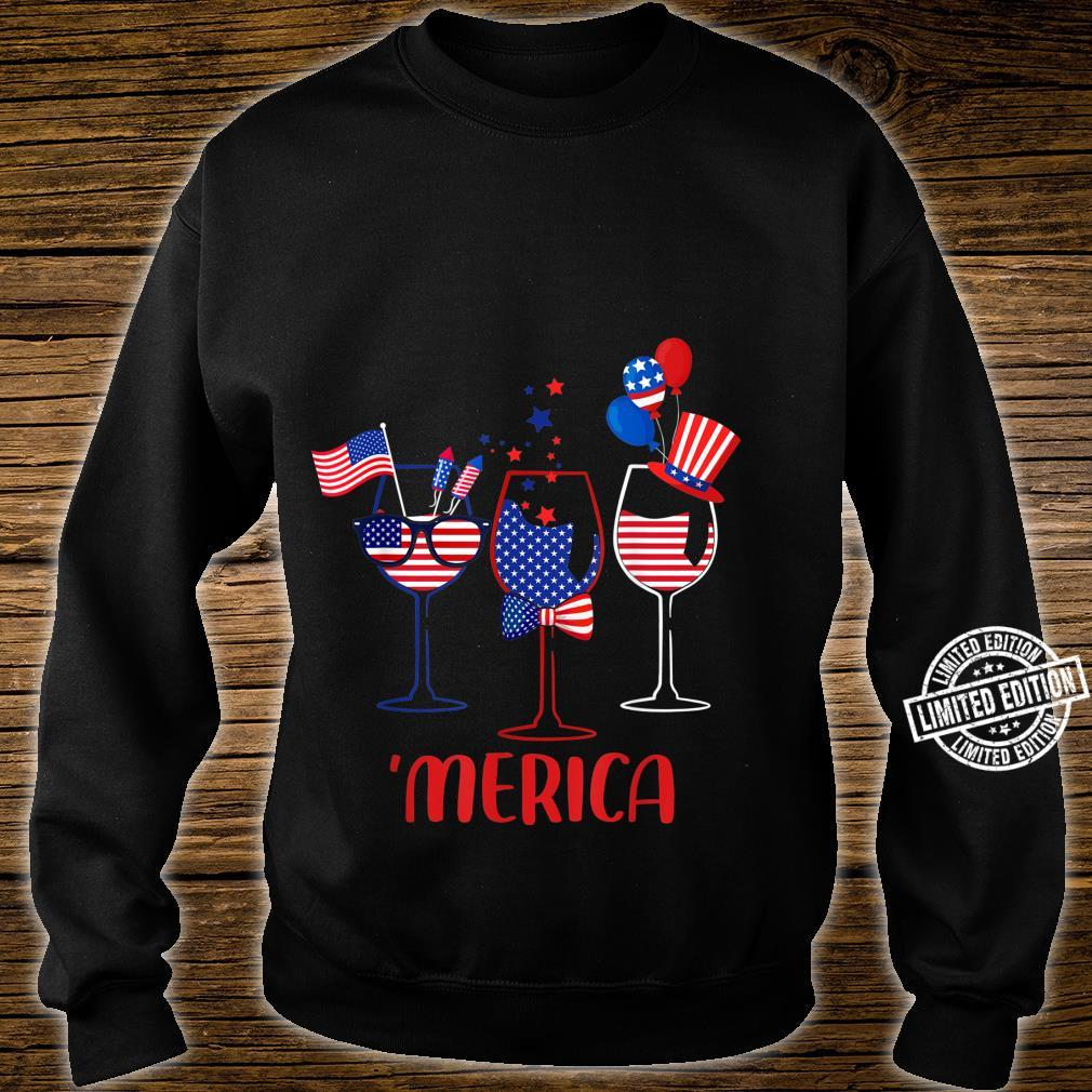 Three Glass Of Wine 4th Of July Wine American Flag Shirt sweater