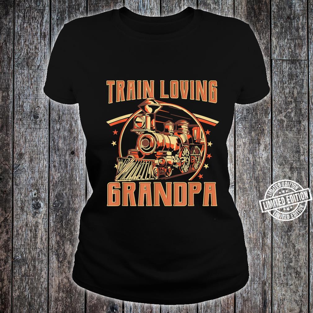 Train Loving Grandpa Vintage Train Shirt ladies tee