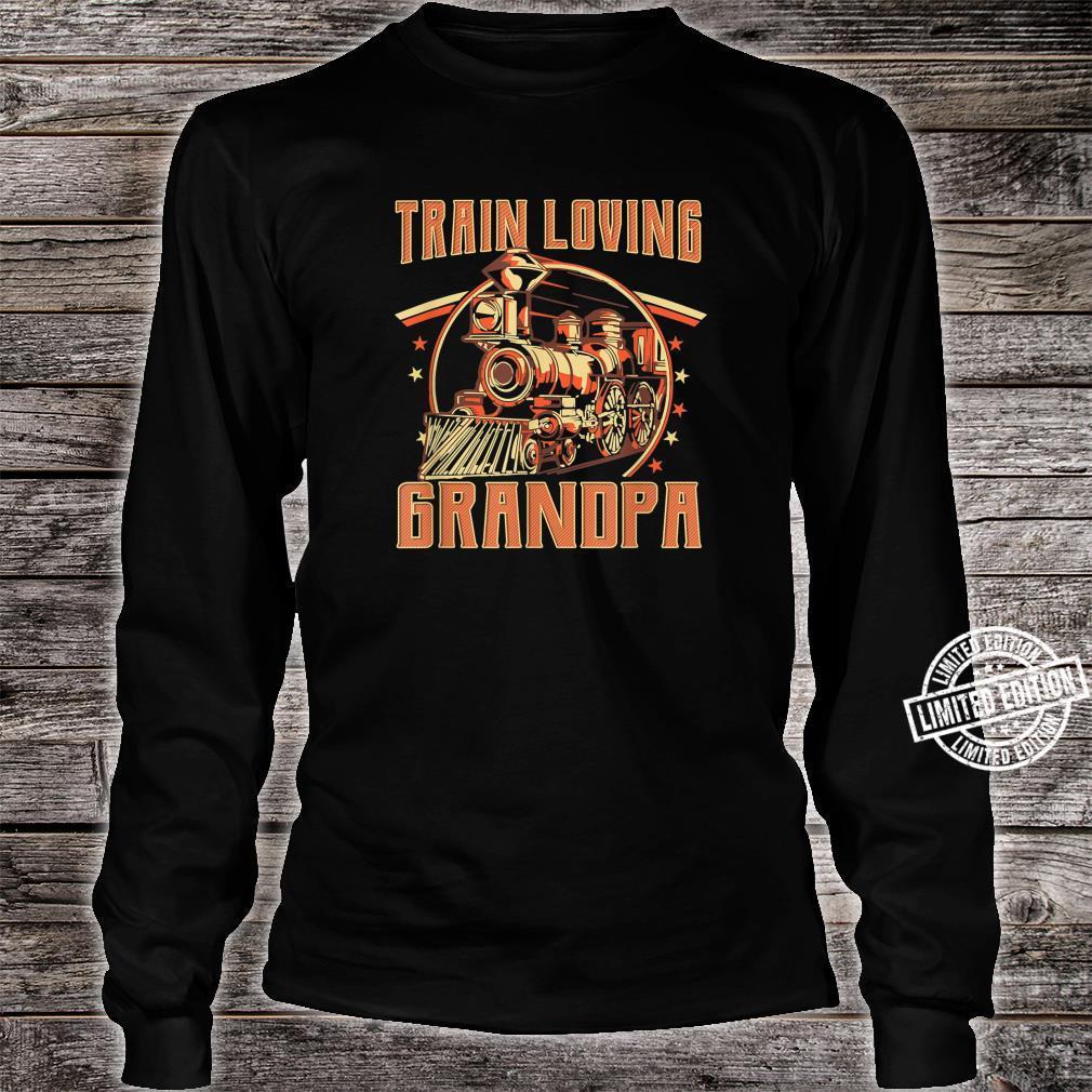 Train Loving Grandpa Vintage Train Shirt long sleeved