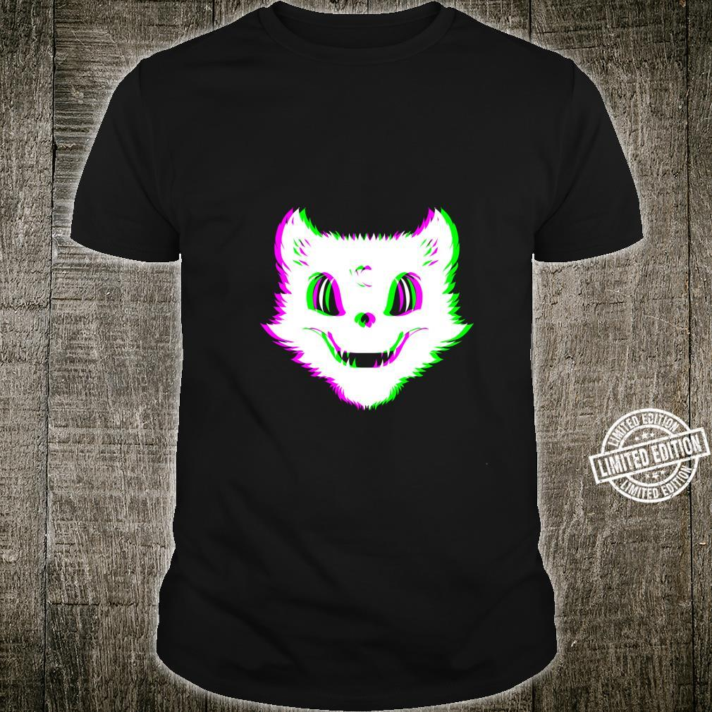 Trippy Psychedelic Techno Rave Party Cat Glitch Vaporwave Shirt