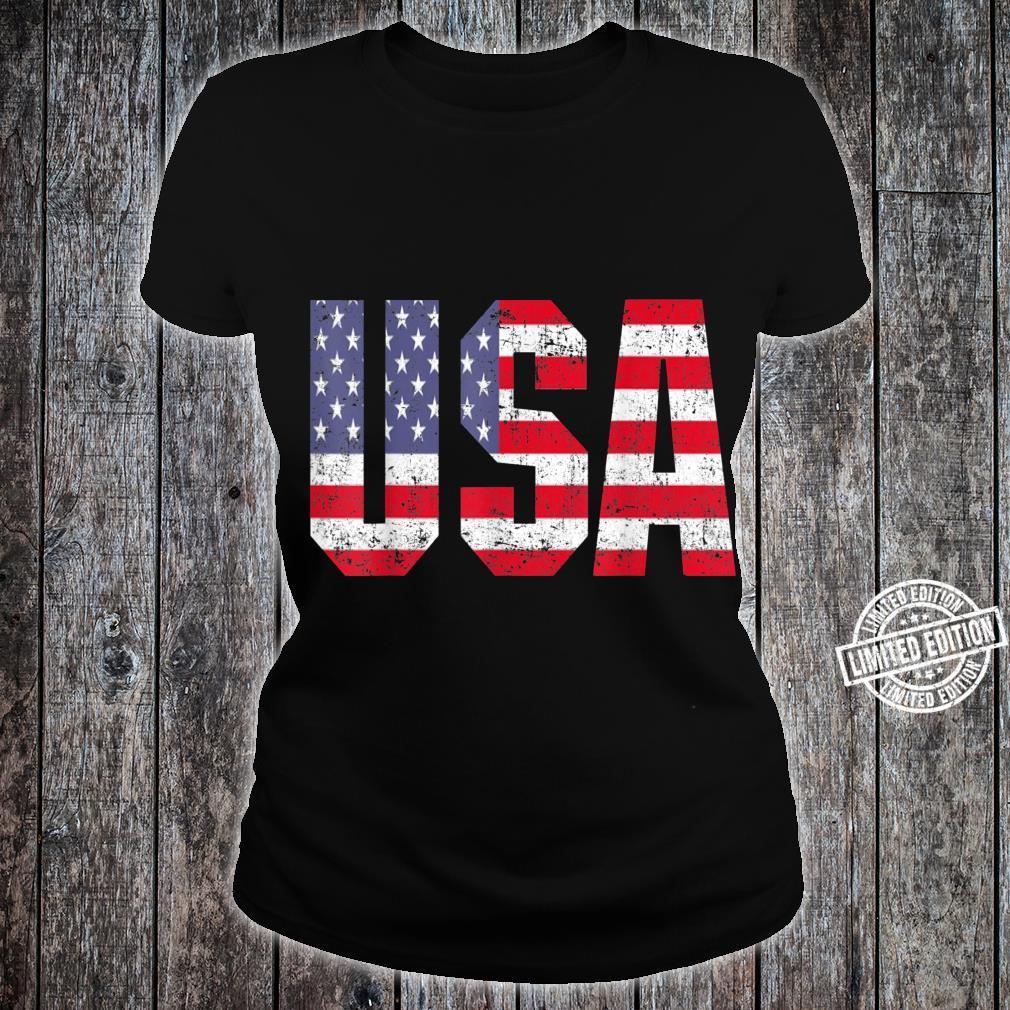 USA US Flag Patriotic 4th Of July America Shirt ladies tee