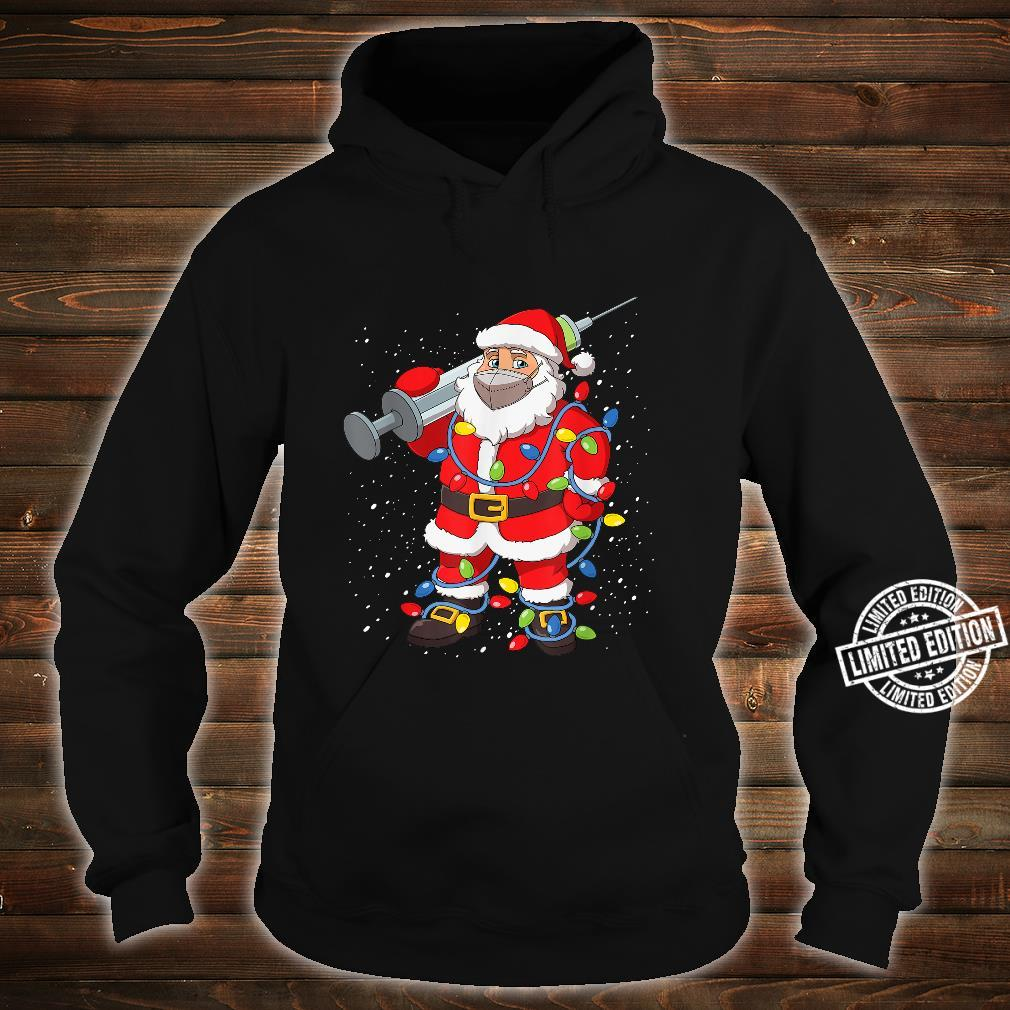 Vaccinated Santa In Face Mask Christmas Tree Lights Shirt hoodie
