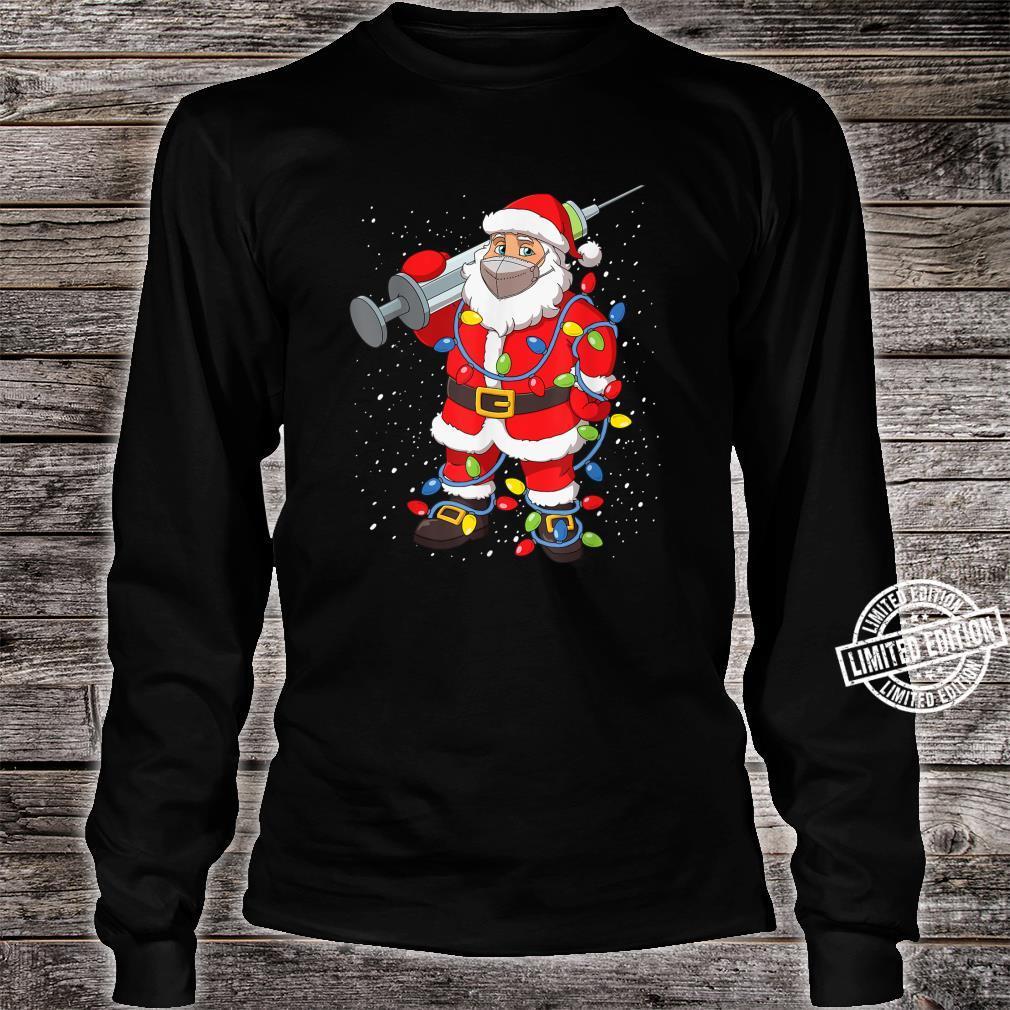 Vaccinated Santa In Face Mask Christmas Tree Lights Shirt long sleeved