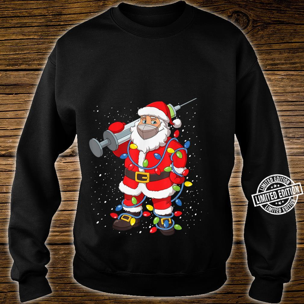 Vaccinated Santa In Face Mask Christmas Tree Lights Shirt sweater