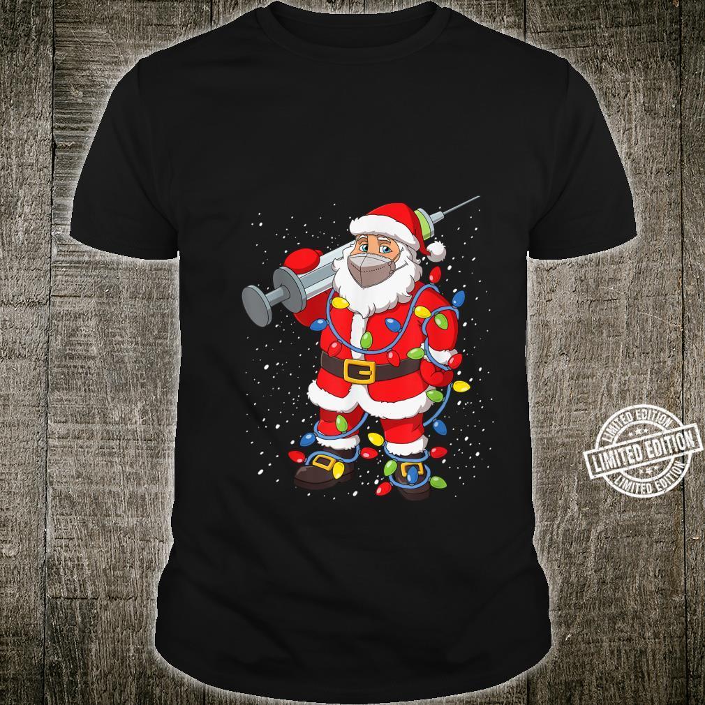 Vaccinated Santa In Face Mask Christmas Tree Lights Shirt
