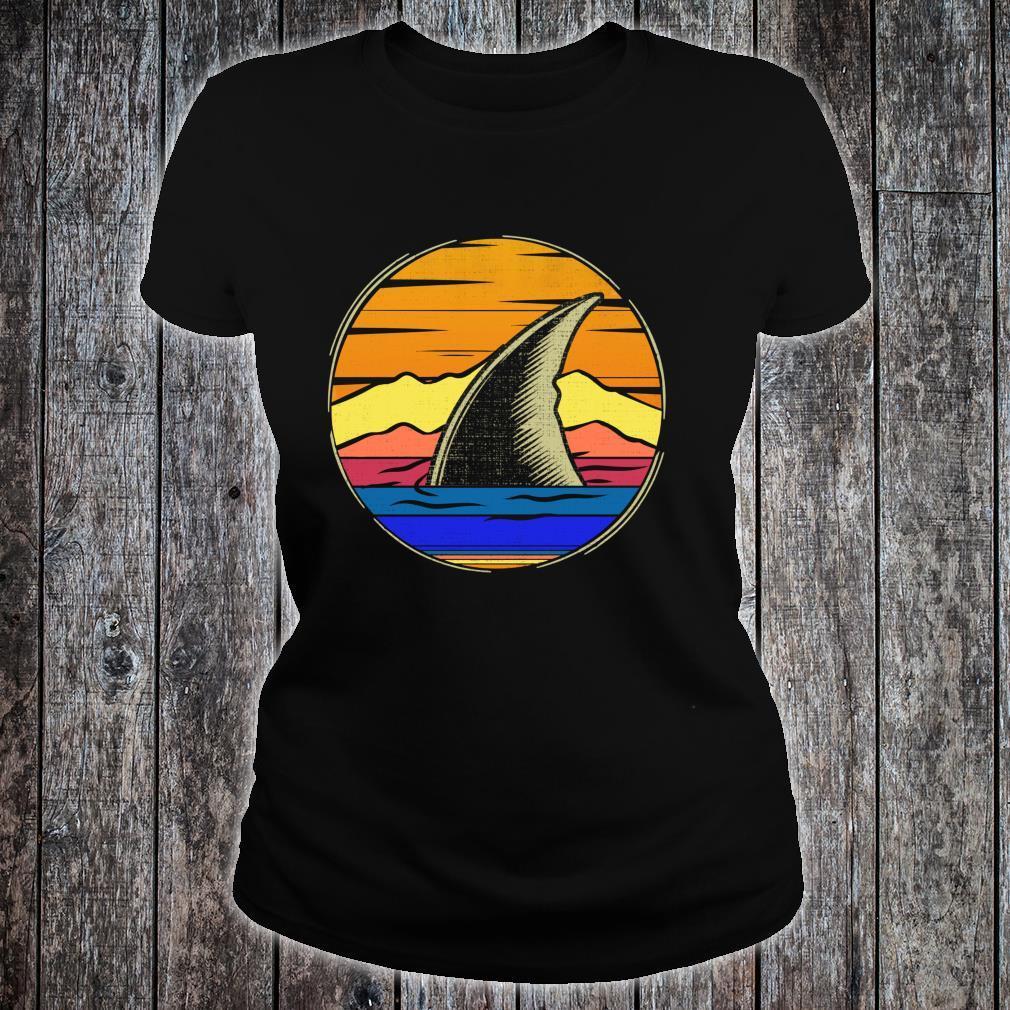 Vintage Shark Fin Retro Sunset Animal Shirt ladies tee