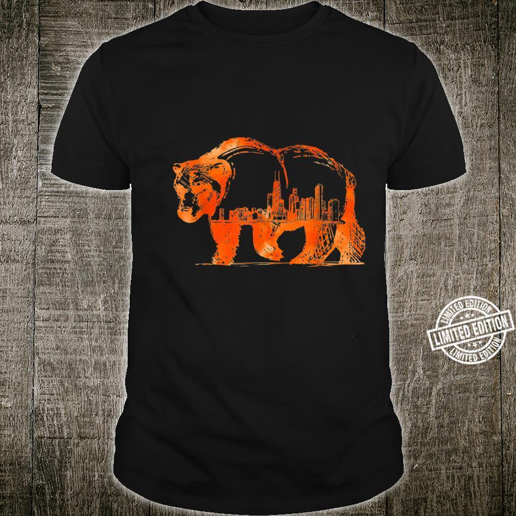 Walking Bear Silhouette Downtown Chicago City Skyline Shirt