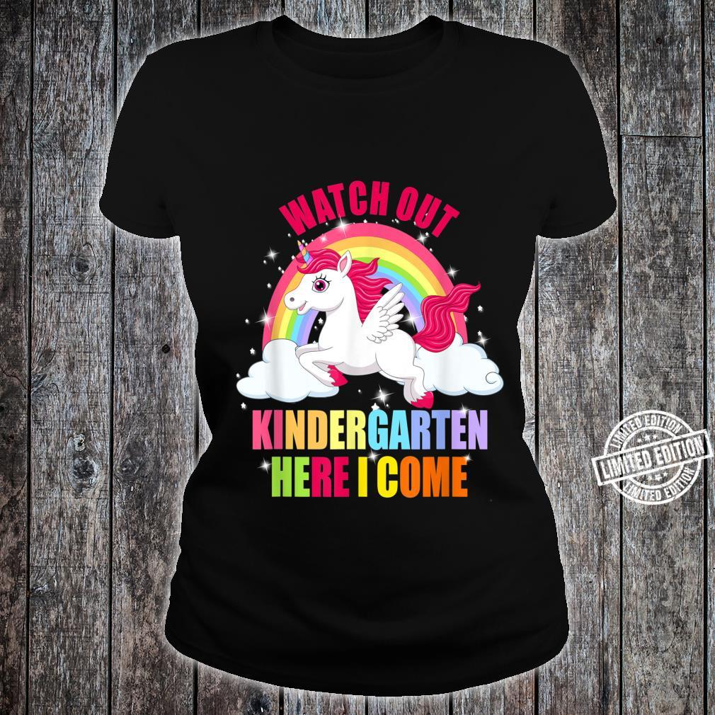 Watch Out Kindergarten Here I Come Unicorn Back To School Shirt ladies tee