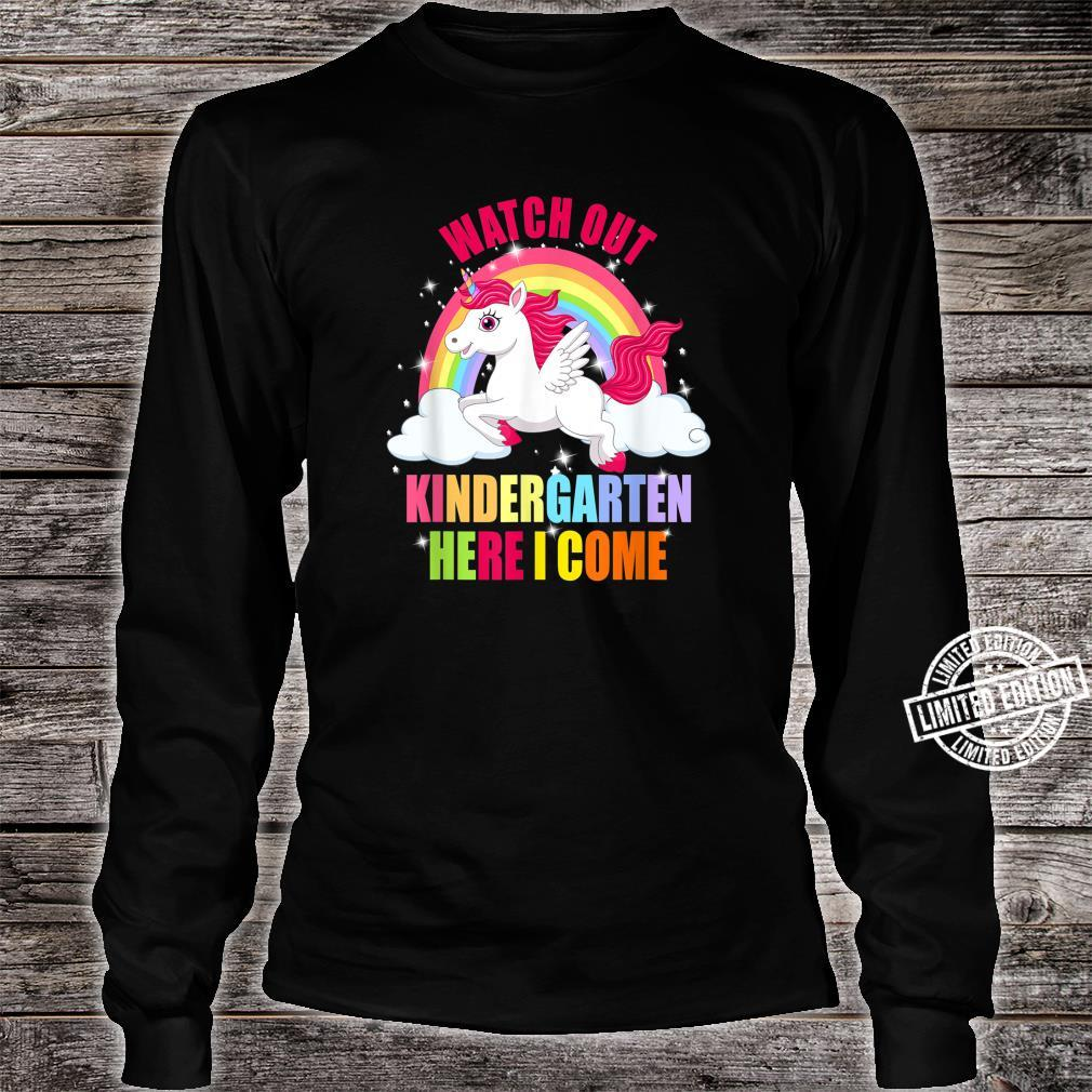 Watch Out Kindergarten Here I Come Unicorn Back To School Shirt long sleeved