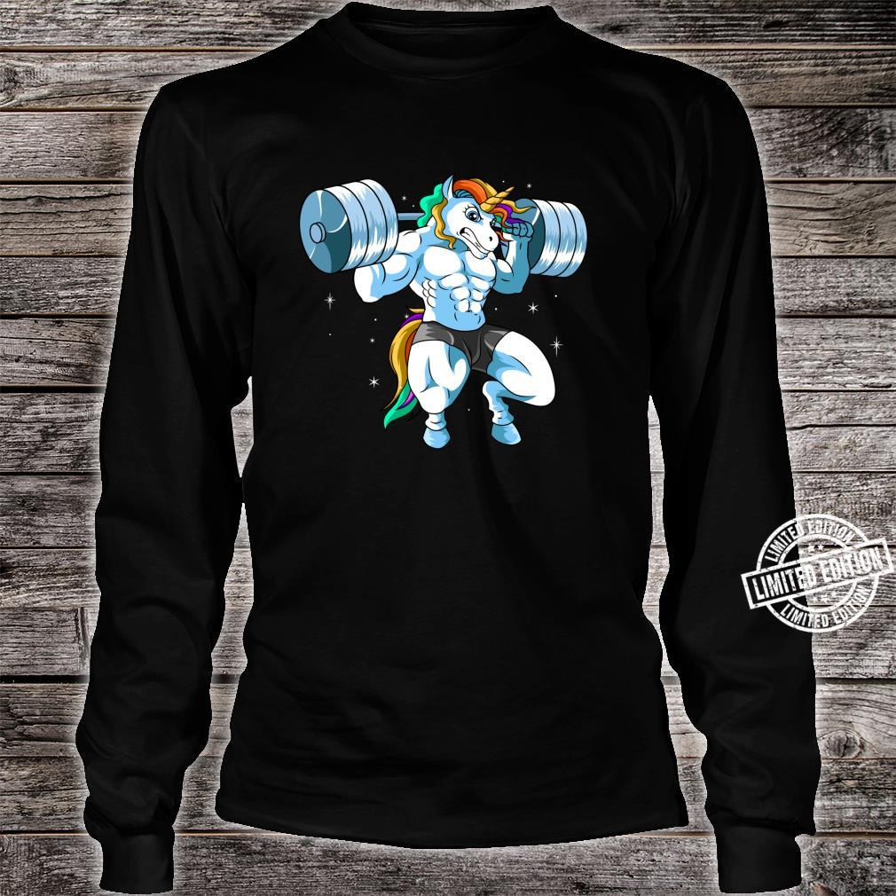 Weightlifter Barbell Fitness Gym Weightlifing Unicorn Shirt long sleeved