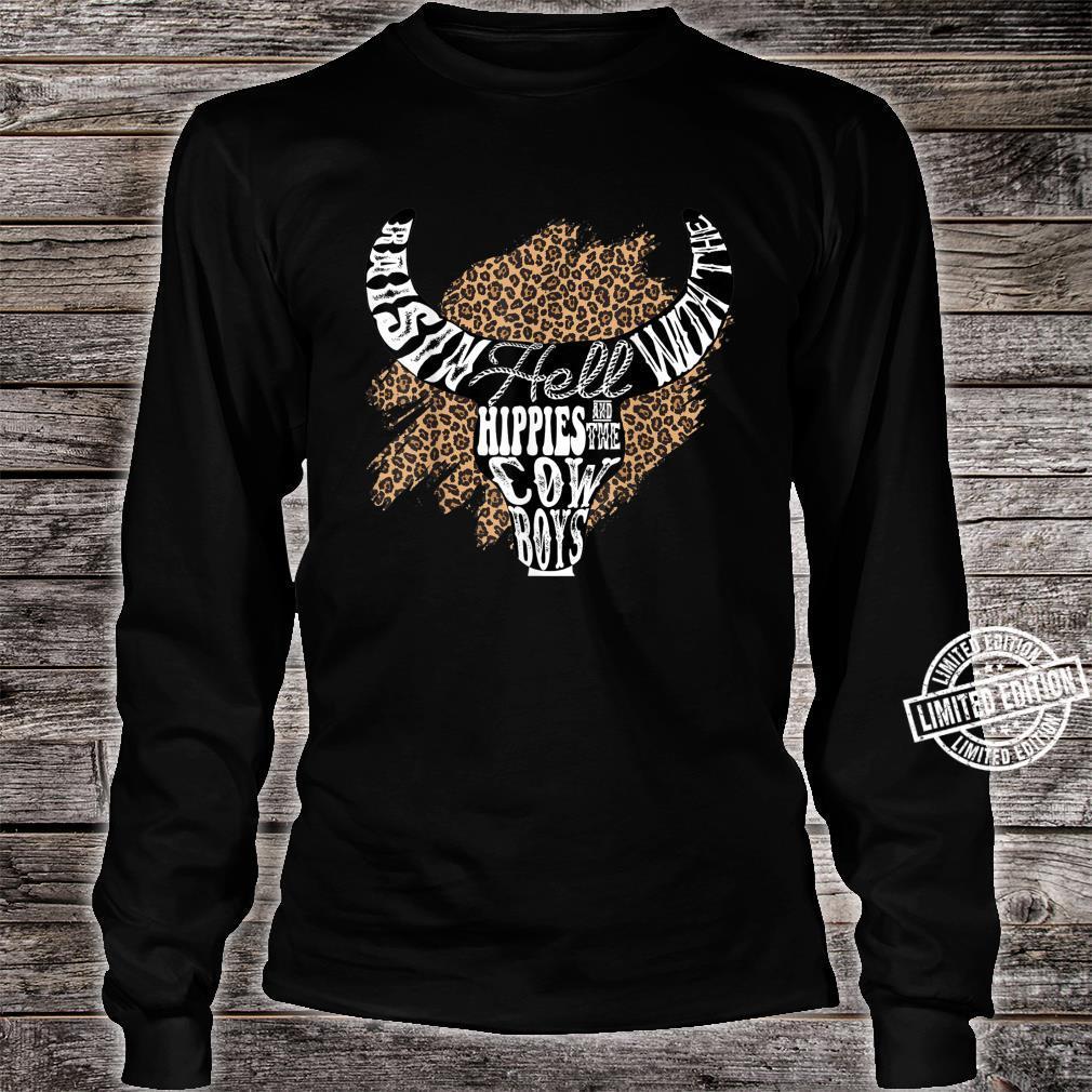 Western Boho Leopard Cow Bull Skull Cowgirl Rodeo Girl Shirt long sleeved