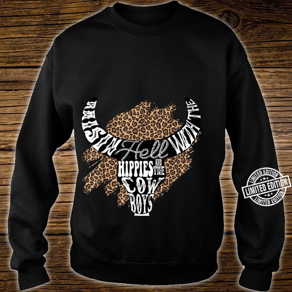 Western Boho Leopard Cow Bull Skull Cowgirl Rodeo Girl Shirt sweater