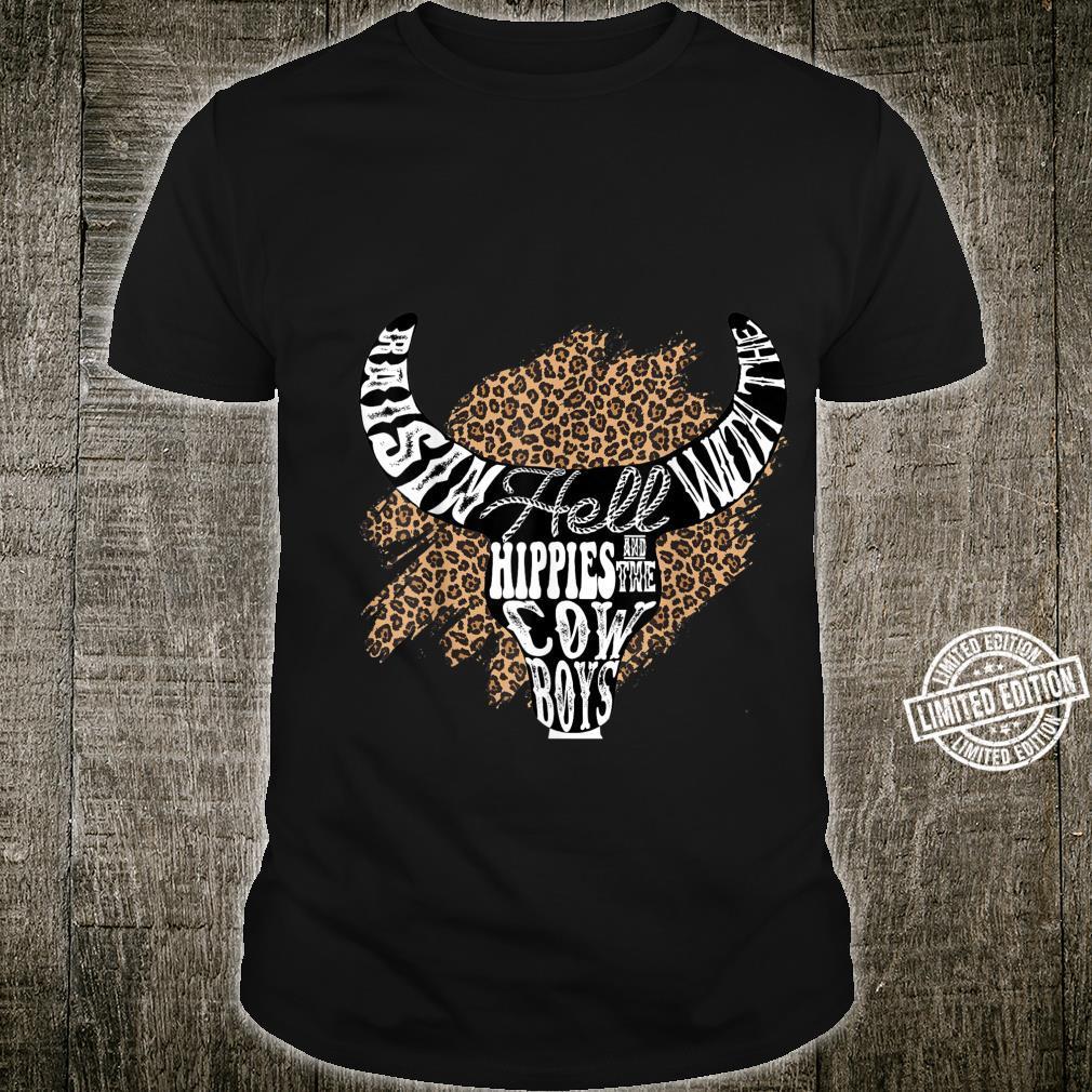 Western Boho Leopard Cow Bull Skull Cowgirl Rodeo Girl Shirt