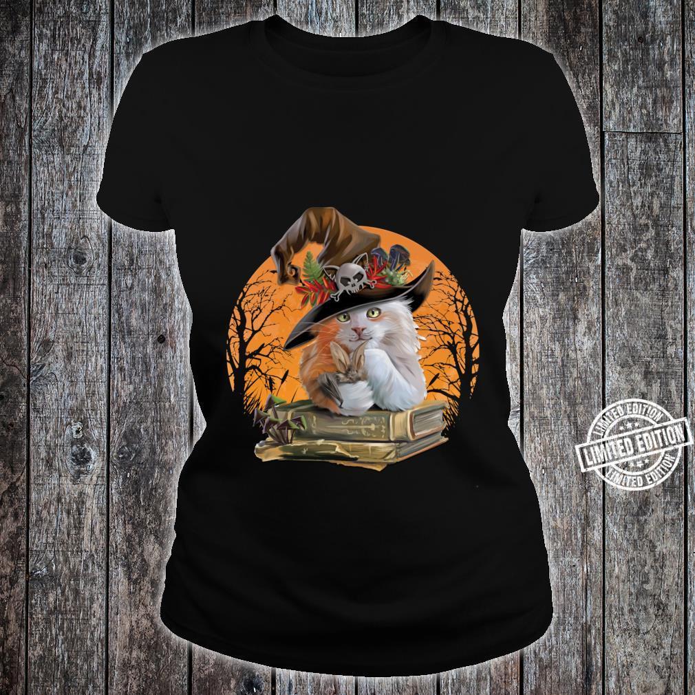 Witch Hat Pumpkin Love Cat Halloween Happy Halloween Shirt ladies tee