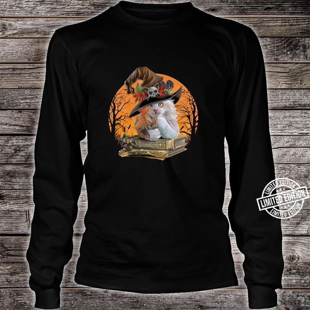 Witch Hat Pumpkin Love Cat Halloween Happy Halloween Shirt long sleeved