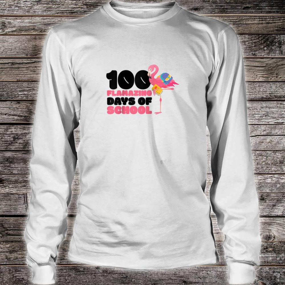 100 Flamazing Days of School Flamingo 100th Day For Teachers Shirt long sleeved