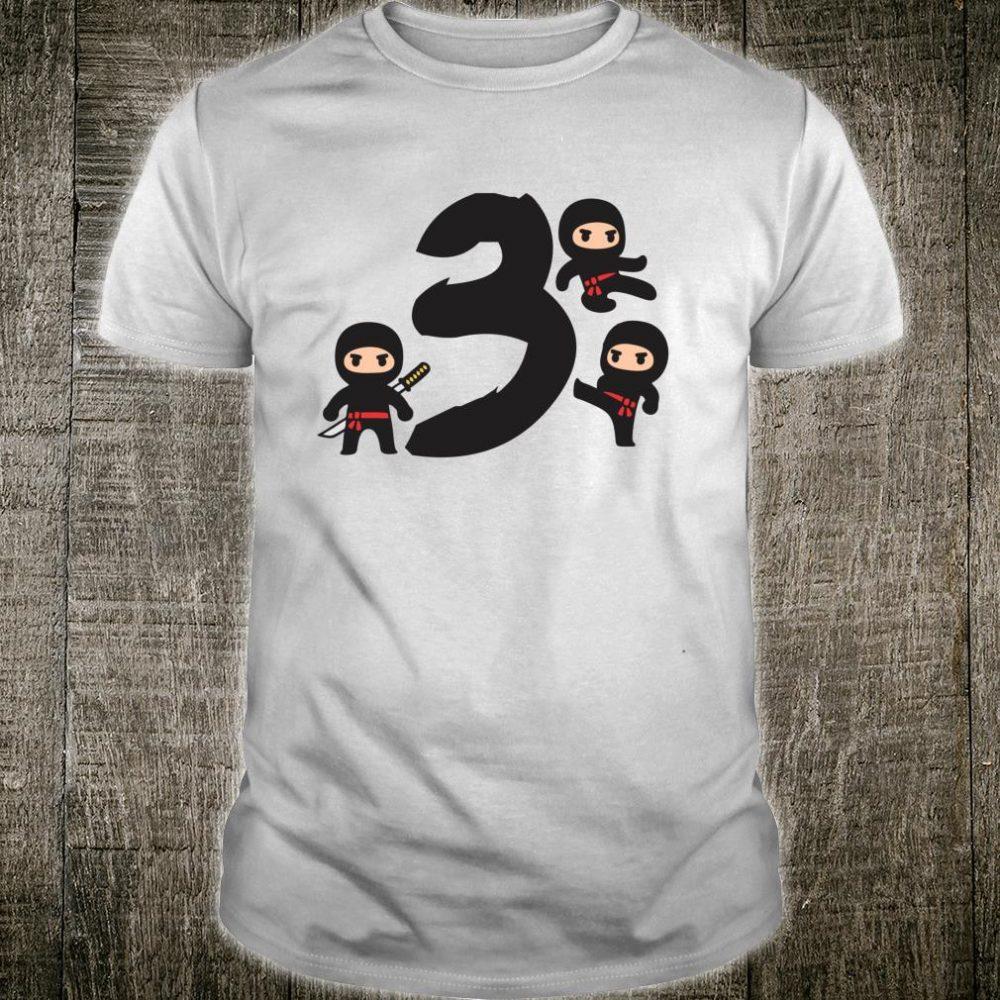 3 Ninja bday cute birthday party for 3 year old Shirt