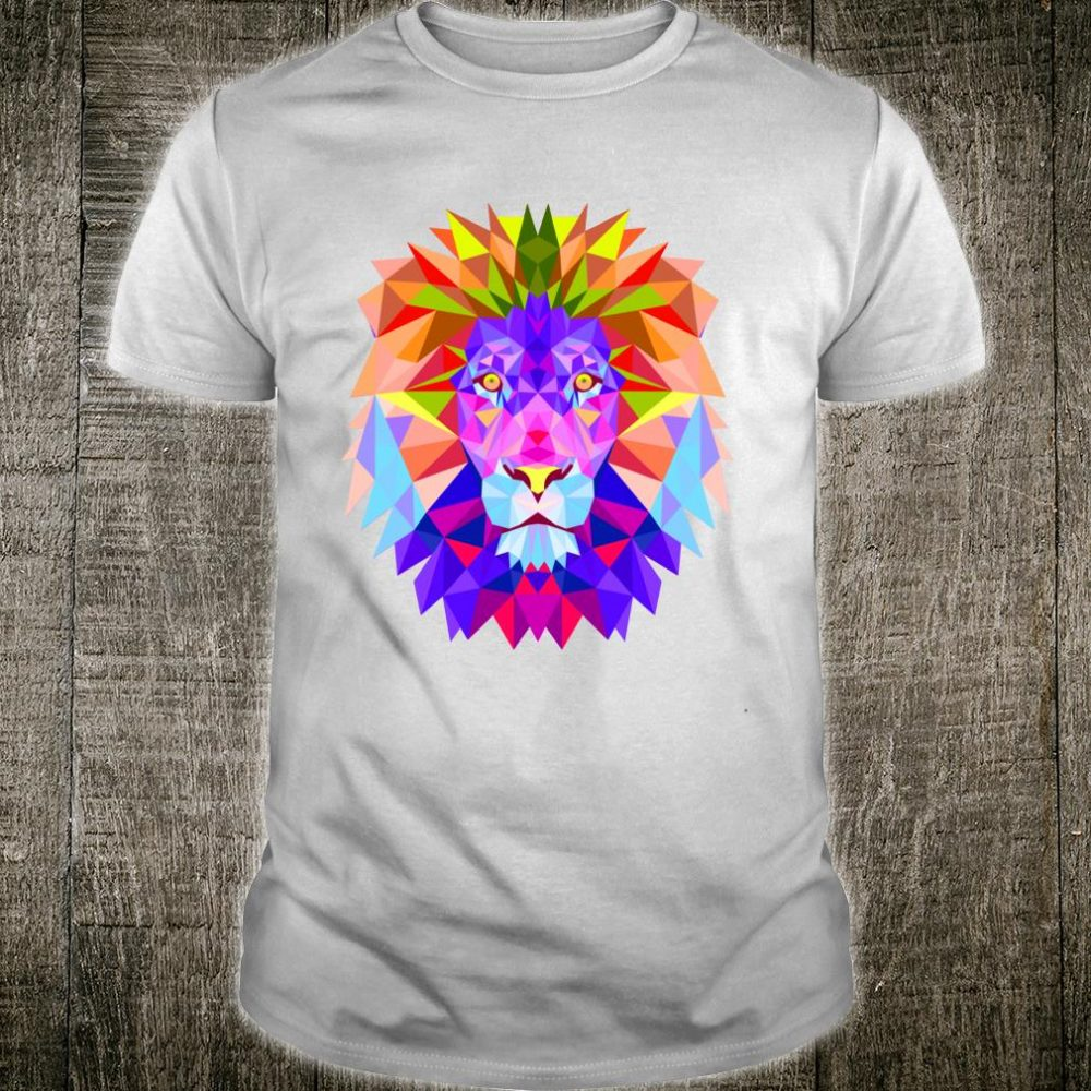 Artistic Retro Lion head Polygonal Style Lion face Shirt
