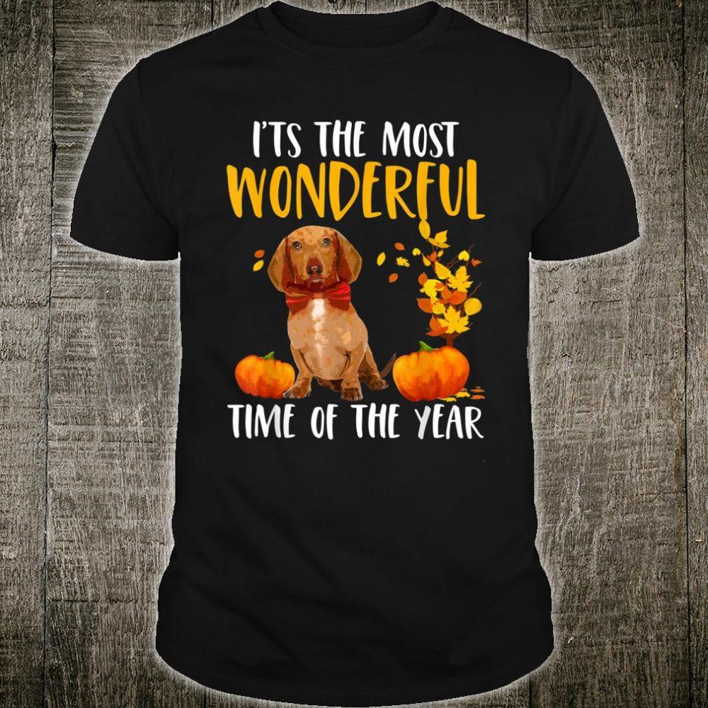 Autumn Most Wonderful Time dachshund Fall Dog Shirt