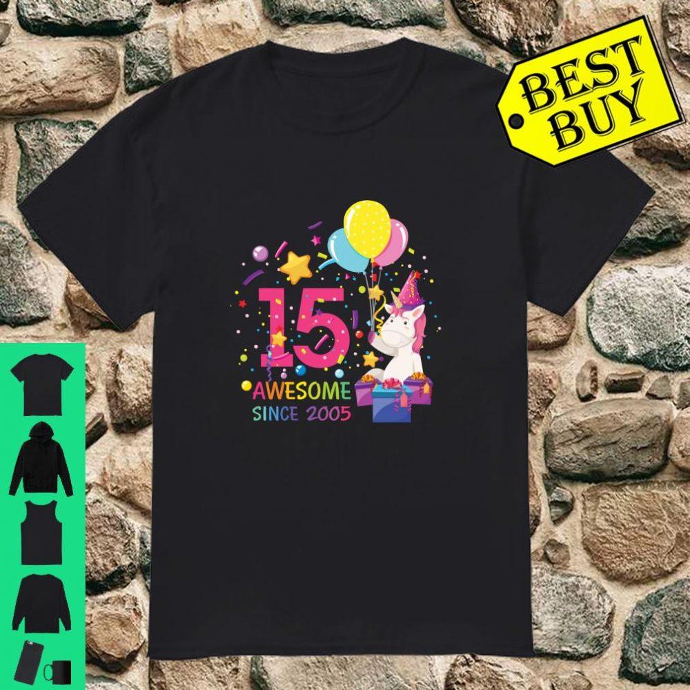 Awesome Since 2005 Cute Unicorn 15th Birthday Girls Shirt