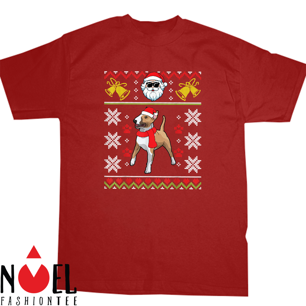 Bull Terrier With Noel Costume Hat Merry Xmas Ugly Shirt