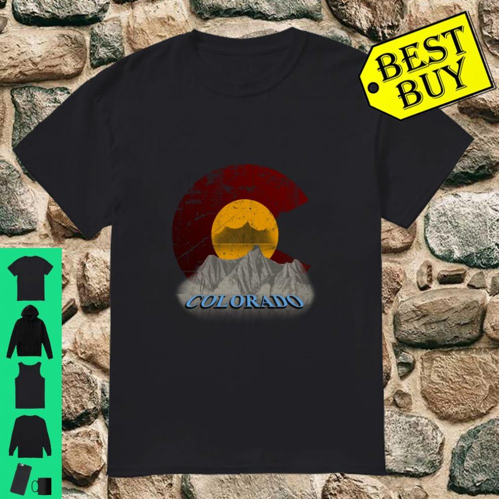 Colorado State Flag Mountain Mirror lake art distressed shirt