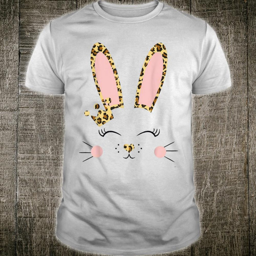 Cute Bunny Face Leopard Design Bunny Easter for Girls Shirt