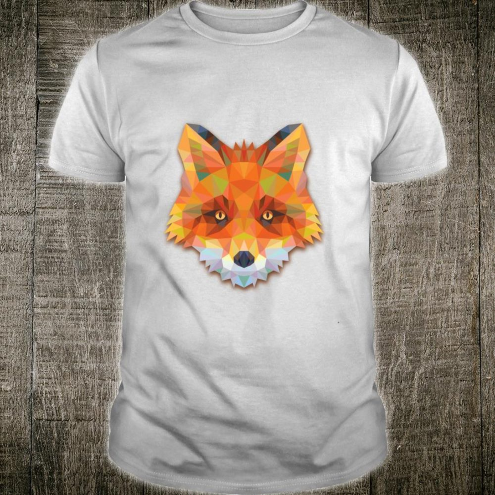 Cute Fox Head Polygonal Triangle Design Shirt