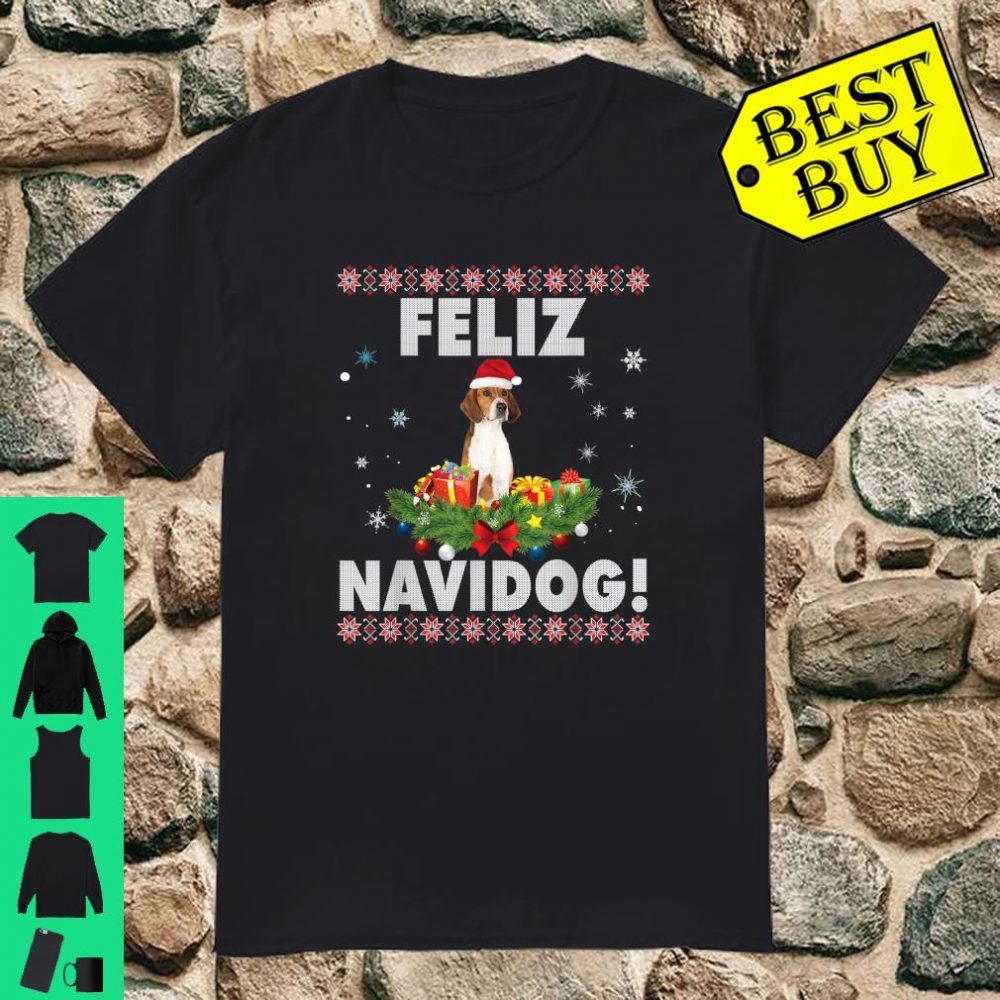 Feliz Navidog English Foxhound Dog Christmas Ugly Sweater Shirt