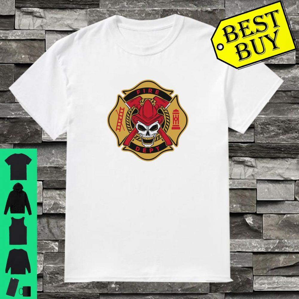 Firefighter Gift Fireman Skull Fire Fighter Truck Shirt